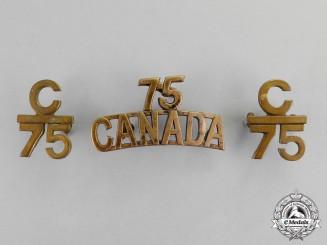 Canada. A Lot of Three First War 75th Infantry Battalion Insignia