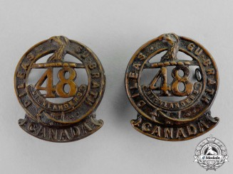 "Canada.  A Set of 15th Infantry Battalion ""48th Highlanders of Canada"" Collar Tabs"