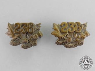 "Canada. A Set of 239th Overseas Battalion ""Railway Construction Corps"" Collar Tabs"