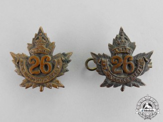 "Canada. A Set of 26th Infantry Battalion ""New Brunswick Battalion"" Collar Tabs"