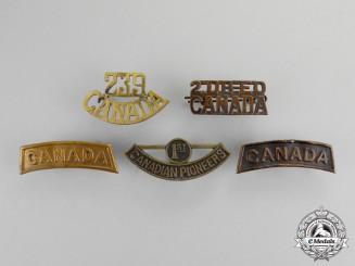 Canada. A Lot of Five First War Shoulder Titles