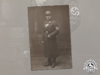 Germany. An Early Studio Portrait of an SA man with Flag Bearer's Gorget