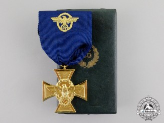 Germany. A Mint Third Reich Period Police 25-Year Long Service Cross in its Presentation Case