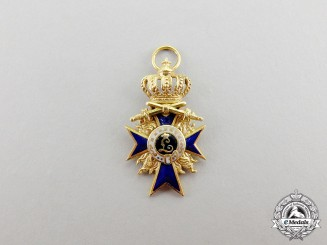Bavaria. An Order of Military Merit, Miniature Officer's Cross in Gold with Flames