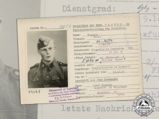 "Germany. A 1955 HIAG Missing Person Report for Signals SS-Schütze Fritz Fischer, SS Division ""Florian Geyer"""