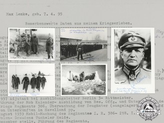 Germany, Heer. A Post War Collection of Photos and Autobiography of Generalmajor Max Lemke Sent to US collector