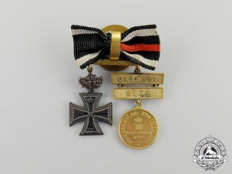 Germany. An 1870 Iron Cross & War Commemorative Medal Boutonniere Pair