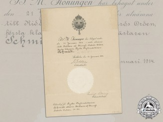 Sweden, Kingdom. An Order of the Sword, Knight I Class Award Document 1914