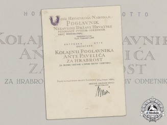 Croatia. A Formal Croatian Document for the Award of the A. Pavelic Bravery Medal