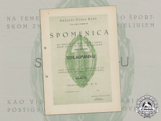 Croatia. A Rare Award Document for Golden Sports Badge of the State Labor Organization