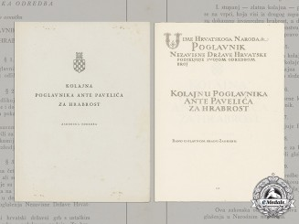 Croatia, Independent State. Two Ante Pavelić Bravery Medal Documents