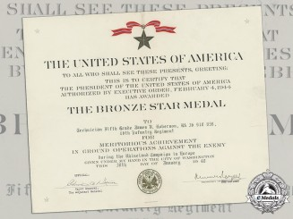 A Bronze Star Award Document, to Technician Fifth Grade James V. Roberson, 16th Infantry Regiment, Rhineland Campaign