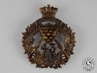 Canada. A 43rd Regiment (The Duke of Cornwall's Own Rifles) Shoulder Belt Plate, c.1907