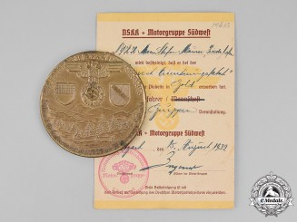 Germany. A NSKK Motor Group Southwest Country Cruise Table Medal with its Award Certificate, c. 1939