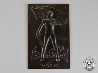 """Germany, Third Reich. A Patriotic Farmer's """"Sword and Plow"""" Ideology Plaque, c. 1936"""