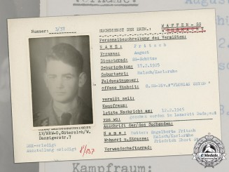 "Germany, SS. A Post War HIAG Missing Person Report for Schütze August Fritsch, SS Division ""Florian Geyer"""