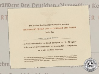 Germany, NSDAP. An Invitation to Participants' Celebration of Berlin Olympics, 1936