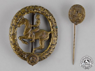 Germany. An Equestrian Badge, Bronze Grade, with its Matching Stick Pin, by Steinhauer & Lück