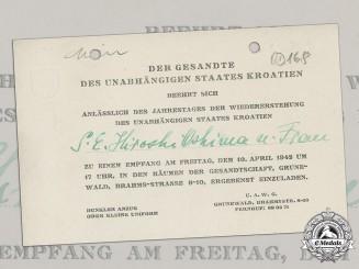 Germany. An Invitation to Japanese Ambassador Hiroshi Oshima, State of Croatia