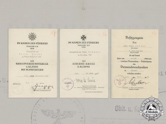 Germany, Heer. The Award Documents to Obergefreiter Franz Zeissl, Anti-Partisan Badge