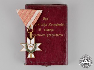 Croatia. An Order of King Zvonimir's Crown, Third Class Knight, with Oakleaves, Cased