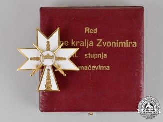Croatia. An Order of King Zvonimir's Crown, 2nd Class with Swords, Cased