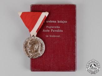 Croatia. An Ante Pavelić Bravery Medal; Silver Grade, Cased