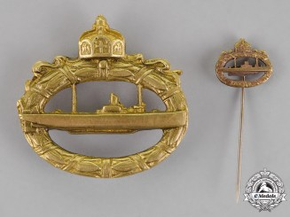 Prussia. An Imperial Submarine (U-Boot) Badge with its Matching Submarine