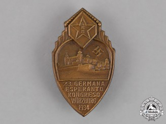 Germany. A German-Esperanto Congress in Würzburg Badge, c. 1934