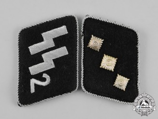 "Germany. A Set of Waffen-SS Standarte 2 ""Germania"" Untersturmführer Collar Tabs, SS-RZM Tagged"