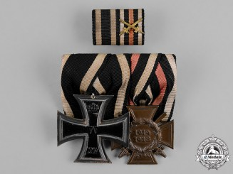 Prussia, State. A Schinckel Iron Cross 1914 Second Class and Hindenburg Cross with Swords Medal Bar