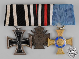 Prussia, State. A First War Period Medal Bar with Three Medals, Awards, and Decorations