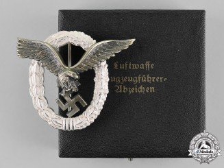 Germany, Luftwaffe. An Absolutely Mint Cased Pilot's Badge by Gebrüder Wegerhoff