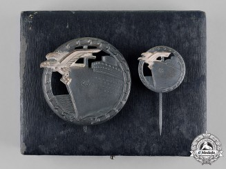 Germany, Kriegsmarine. A Cased Mint Set of Blockade Runner Badges by Schwerin of Berlin