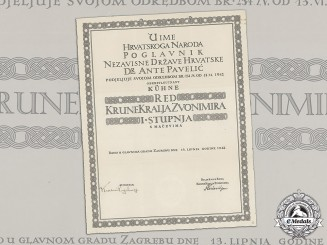 Croatia. A Formal Croatian Document for the Award of the King Zvonimir Order, 1st Class with Swords