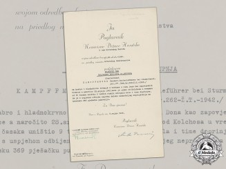 Croatia. A Preliminary Award Document (Vorschlag), Signed by A. Pavelić