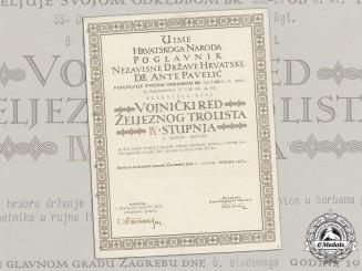 Croatia. A Military Order of Trefoil Award Doc. to SS-Obersturmbannführer Karl Berchtold