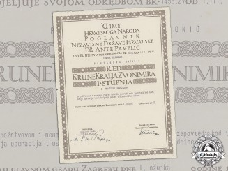Croatia. A Document for the Award of the King Zvonimir Order, to an Italian Officer