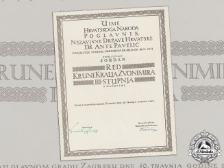 Croatia. A Formal Croatian Document for the Award of the King Zvonimir Order, Third Class with Swords