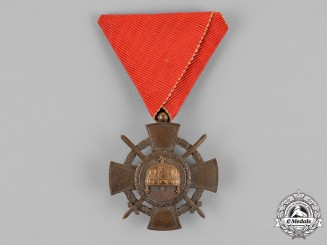 Hungary, Regency. Order of the Holy Crown, Bronze Cross with WD and Swords, 1943