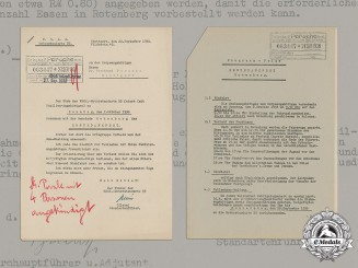Germany, NSKK. An Invitation to Dr. Porsche and Family to Attend Thanksgiving with Motorstandarte 55