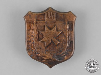 Croatia. A 1943 Iron Trefoil Officers School Commemorative Badge