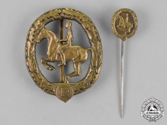 Germany. An Equestrian Badge and Stick Pin, in Bronze, by Christian Lauer