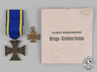 Braunschweig. A War Merit Cross, Second Class, with Miniature Pennant and Paper Packet