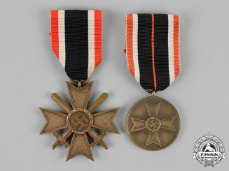 Germany. A Grouping of a War Merit Cross Second Class with Swords, and a War Merit Medal