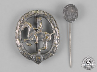 Germany. An Equestrian Badge and Stick Pin, in Silver, by Christian Lauer