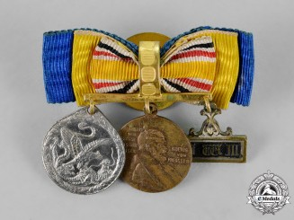 Prussia, State. A Civilian China Medal and Reserve Long Service Decoration Boutonniere