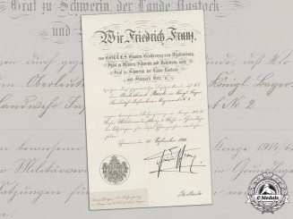 Mecklenburg-Schwerin, Grand Duchy. A Military Merit Cross 2nd Class Award Document To Bavarian Oberleutnant Barch