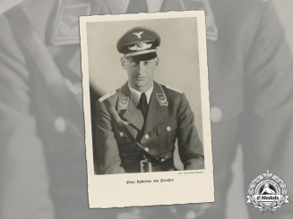 Germany, Luftwaffe. A Wartime Studio Portrait Of Lieutenant Prince Hubertus Of Prussia