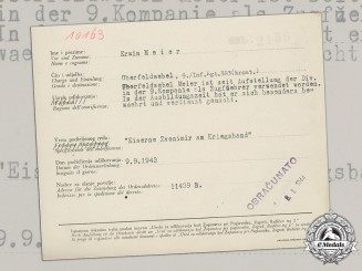 Germany, Heer. A Croatian Iron Zvonimir Medal Award Document to Oberfeldwebel Erwin Meier